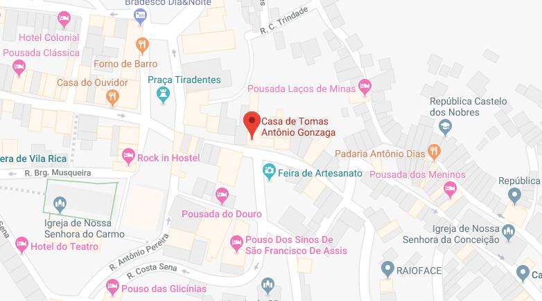 Localização daCasa de Tomás Antônio Gonzaga em Ouro Preto