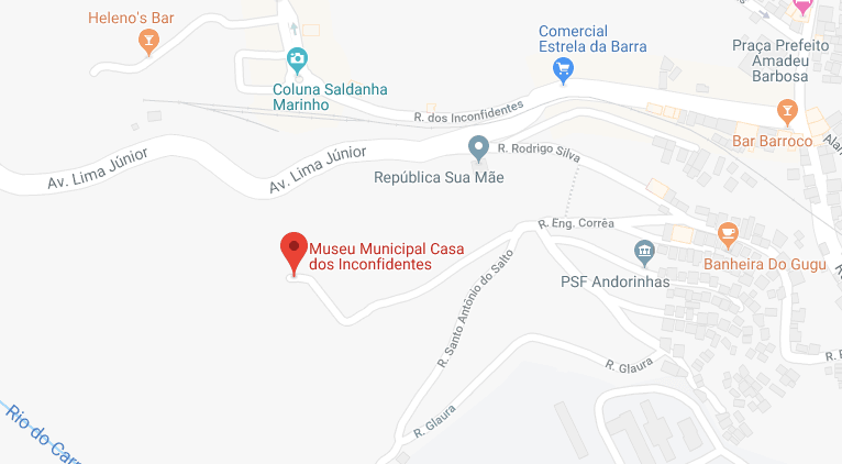 Mapa da Casa dos Inconfidentes em Ouro Preto