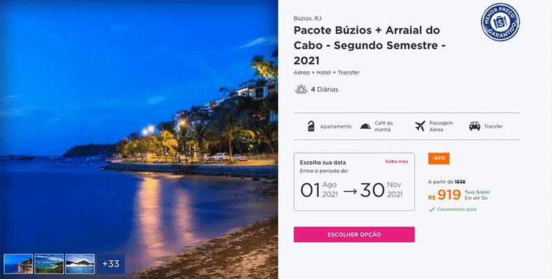 Pacote Hurb para Búzios + Arraial do Cabo por R$ 919