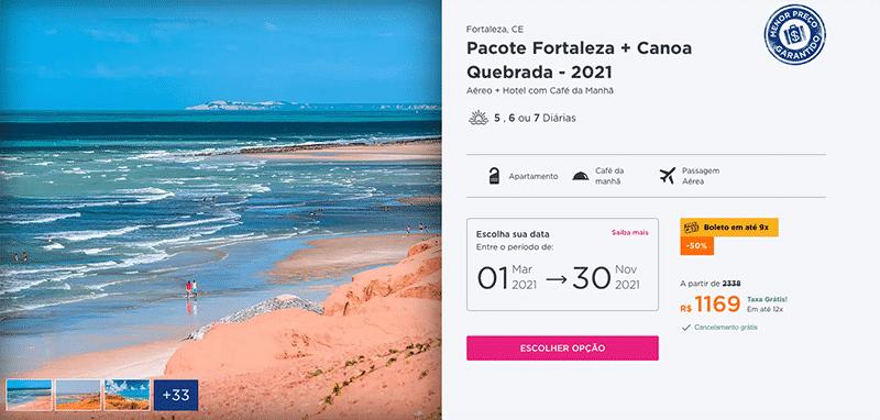 Pacote Hurb para Fortaleza + Canoa Quebrada por R$ 1.169