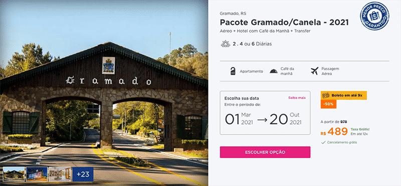 Pacote Hurb para Gramado + Canela por R$ 489