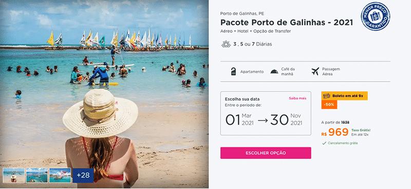Pacote Hurb para Porto de Galinhas por R$ 969