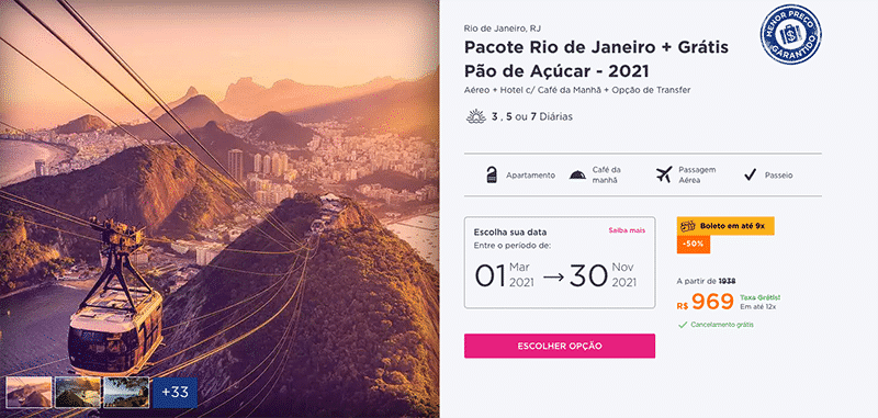 Pacote Hurb para o Rio de Janeiro por R$ 969