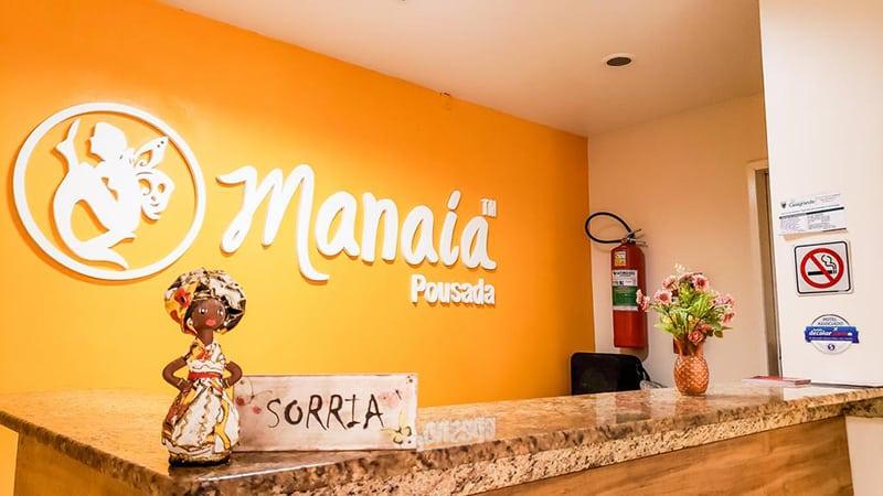 Recepção da Pousada Manaia em Morro de São Paulo
