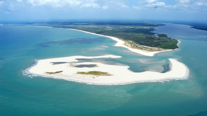 Vista aérea da Península de Maraú