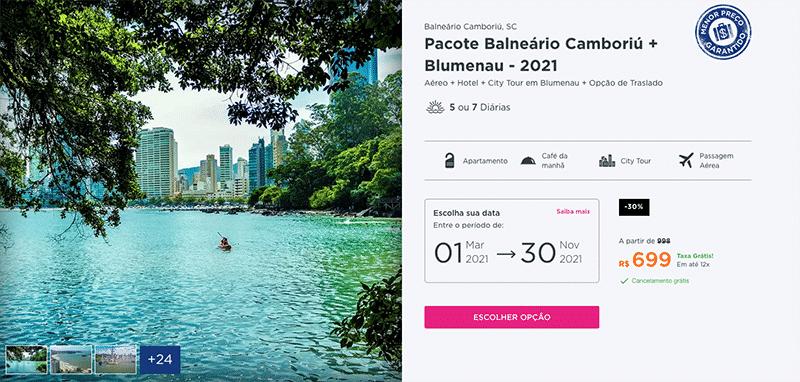 Pacote Hurb para Balneário Camboriú + Blumenau por R$ 699