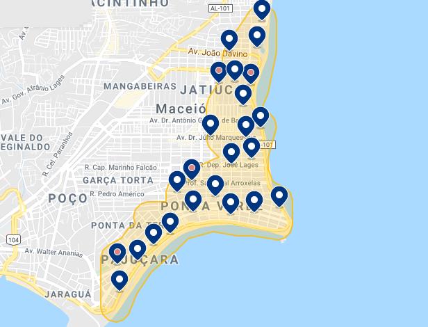 Mapa de regiões em Maceió